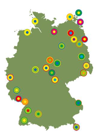 Karte mit Übersicht der Partner-Initativen in den Nationalen Naturlandschaften